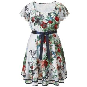 AX Paris Butterfly Dress Floral Flutter Sleeve